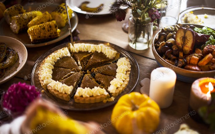 Cutting Pumpkin Pie Dessert Thanksgiving Holiday Concept