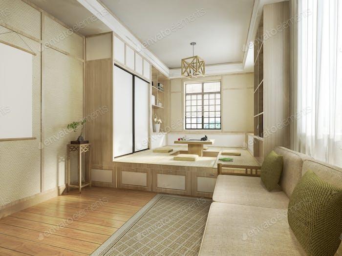 3d rendering japanese style living room