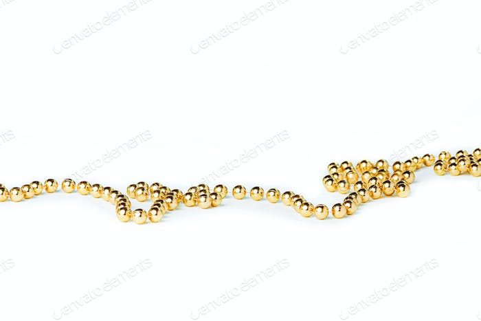 Gold Christmas bump beads on white
