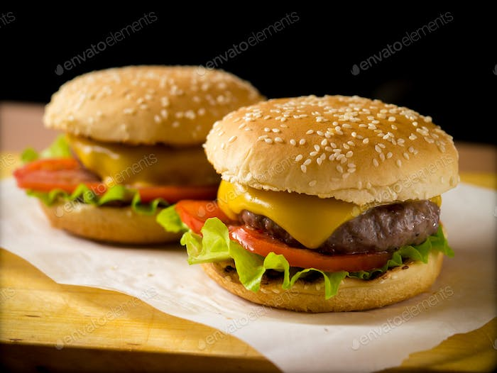 Two freshly made burgers