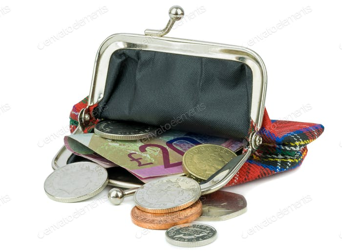 An Open Purse with British Currency