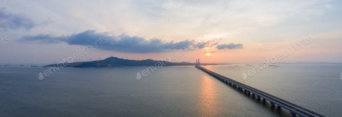 beautiful scenery of poyang lake in sunrise