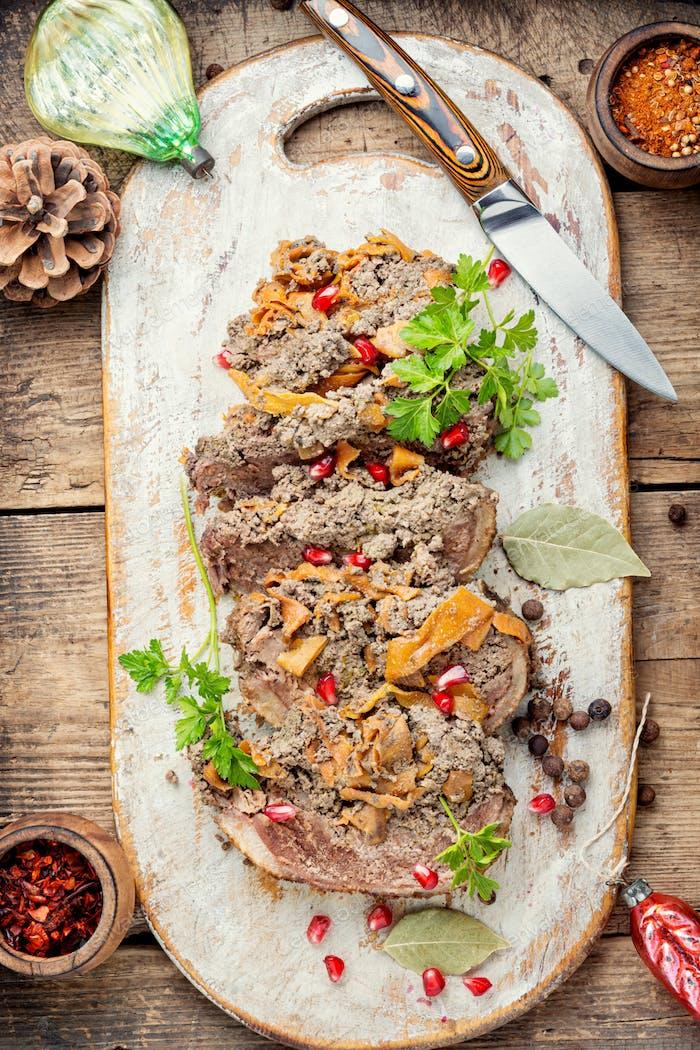 Meat festive roll.
