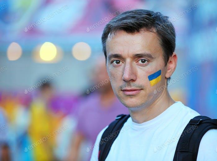 Portrait of a Ukrainian football fan in fun zone at Euro 2012