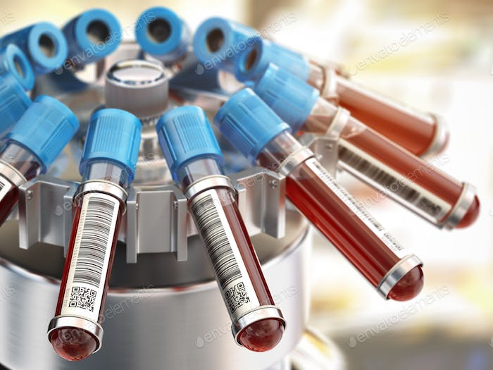 Blood test tubes in centrifuge. Medical laboratory concept.