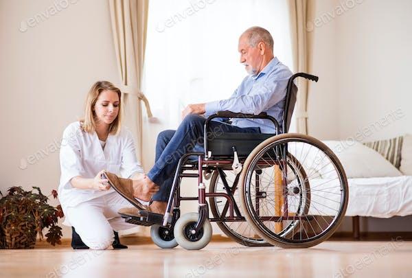 Nurse and senior man in wheelchair during home visit. Foto von ...