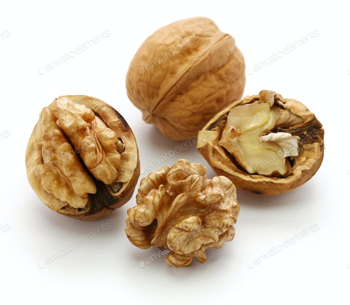 walnuts, kernel and shell isolated on white background