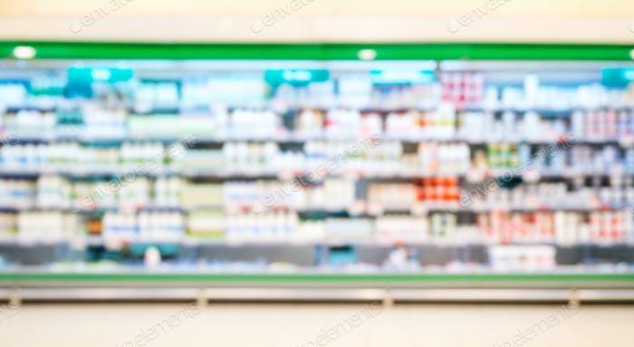 Dekotierte Unschärfe von Supermarktregalen