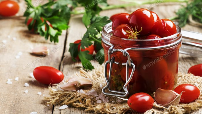 Pickled red cherry tomatoes
