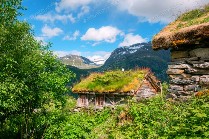 The grass-roofed houses in Norway