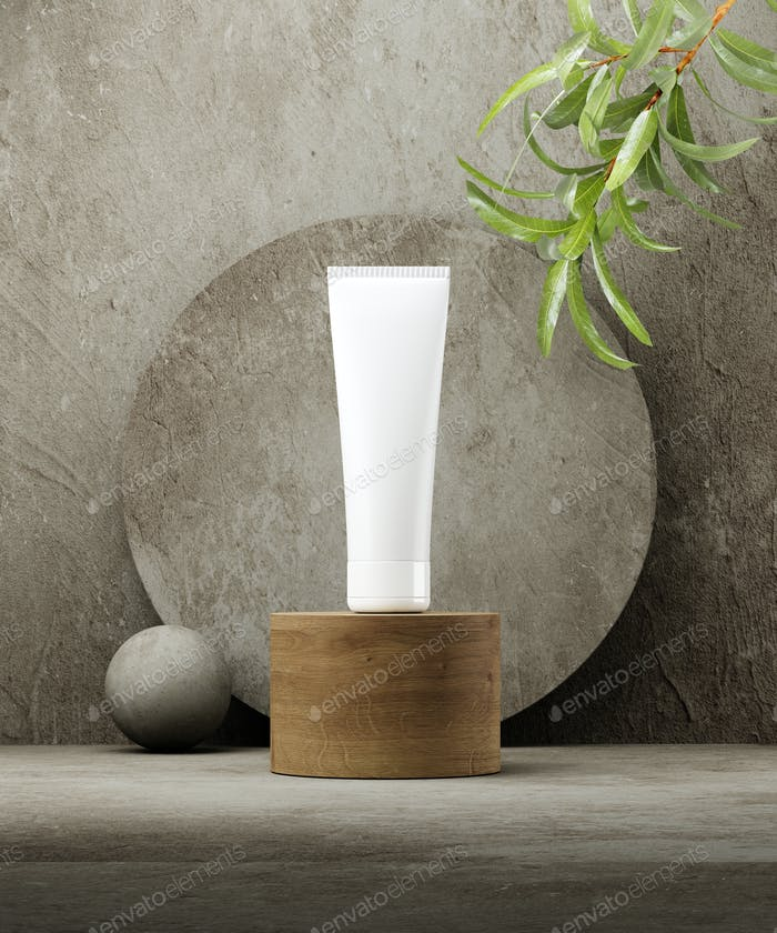 Pedestal for natural cosmetic product presentation. Stone and wood cylinders with plant leaves. 3d