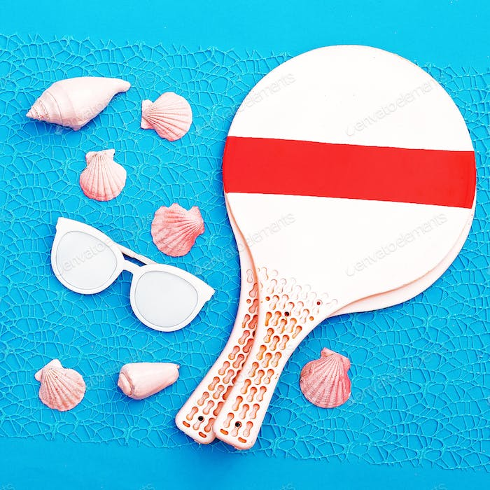 Beach Time. Beach badminton. Vacation set minimal