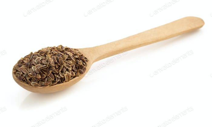 dried dill seeds in spoon on white
