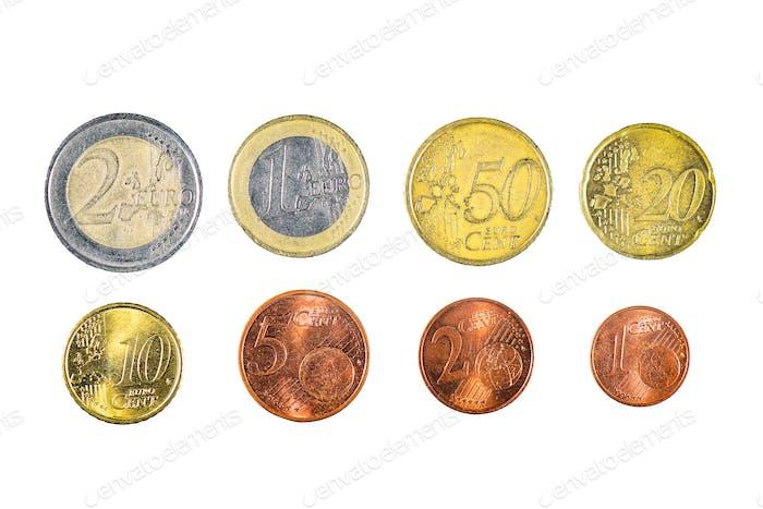All eight euro coins