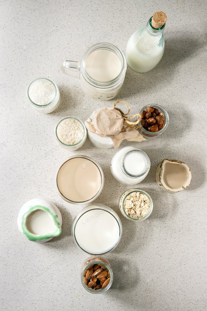 Variety of non-dairy milk
