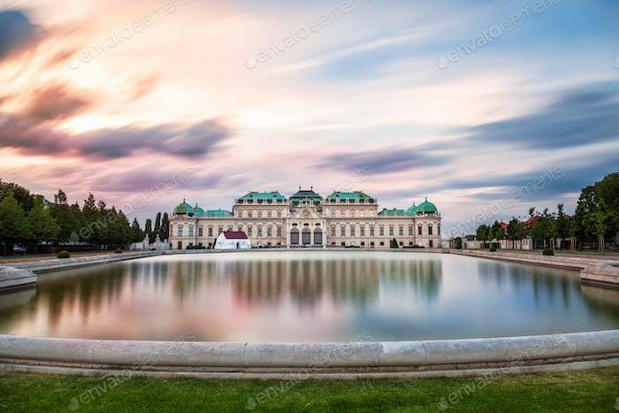 Belvedere palace at sunset in Vienna, Austria