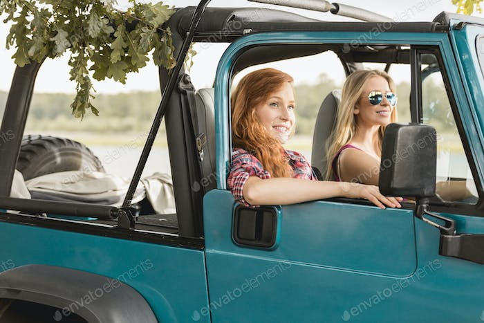 Girls driving car