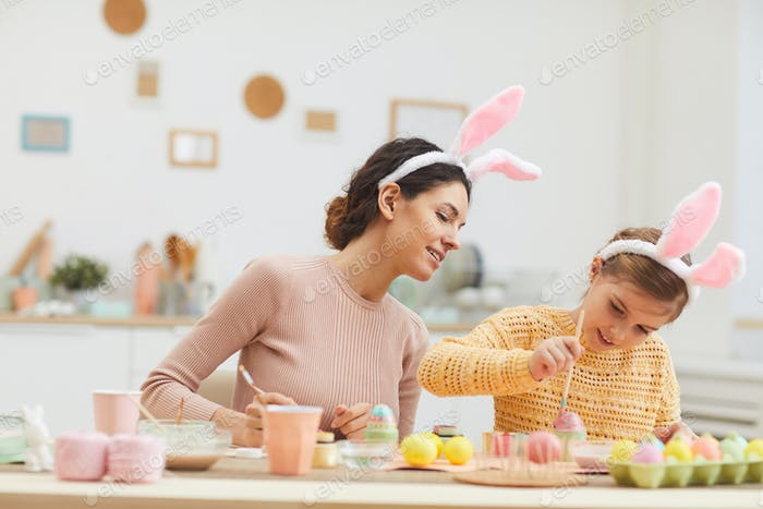 Loving Mother and Daughter Enjoying Easter
