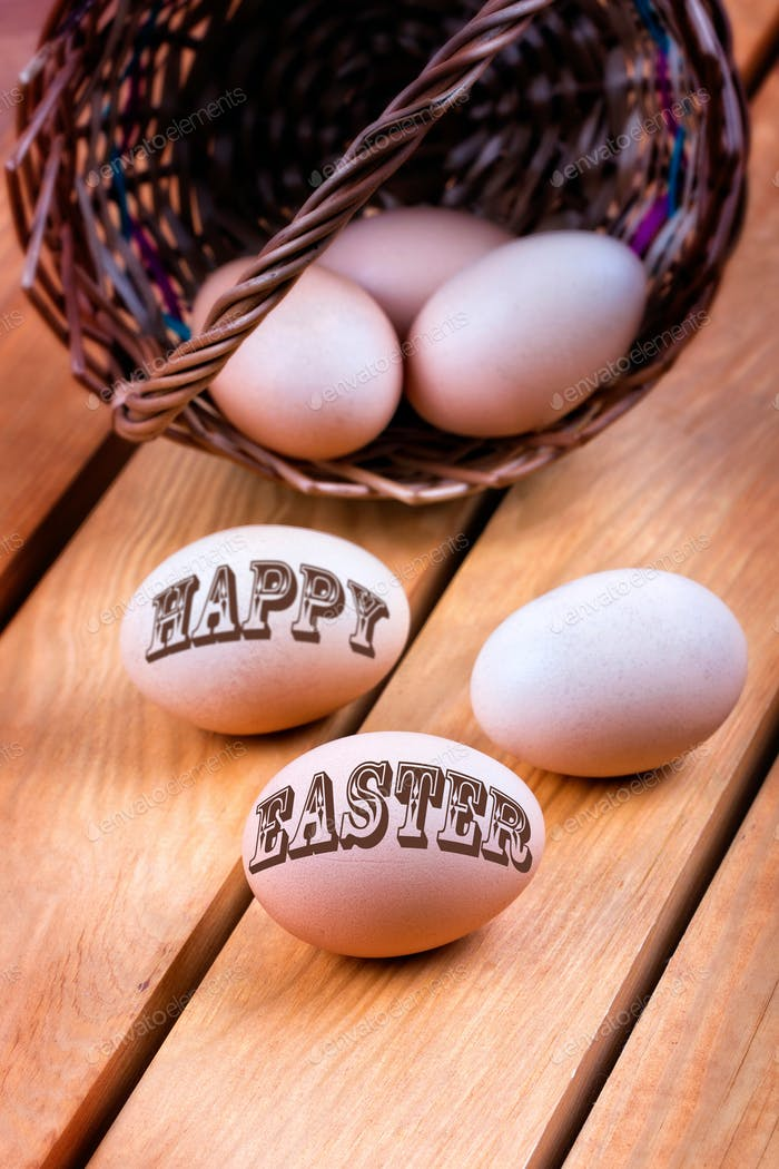 Happy Easter - inscription on a eggs