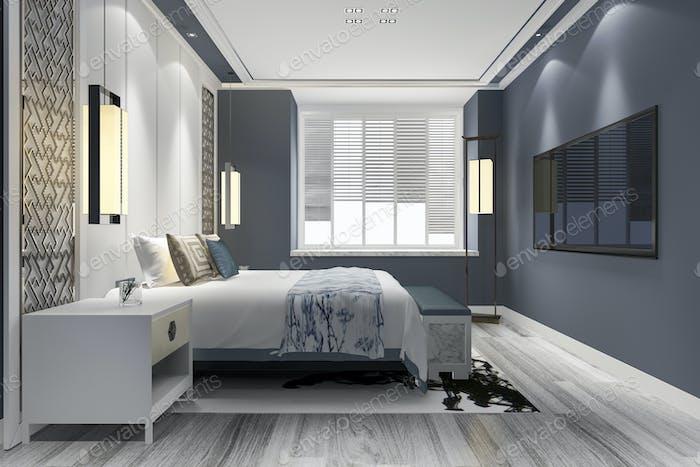 3d rendering blue luxury chinese bedroom suite in resort hotel