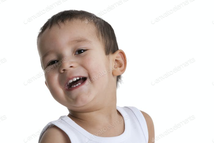 Portrait of a laughing toddler boy