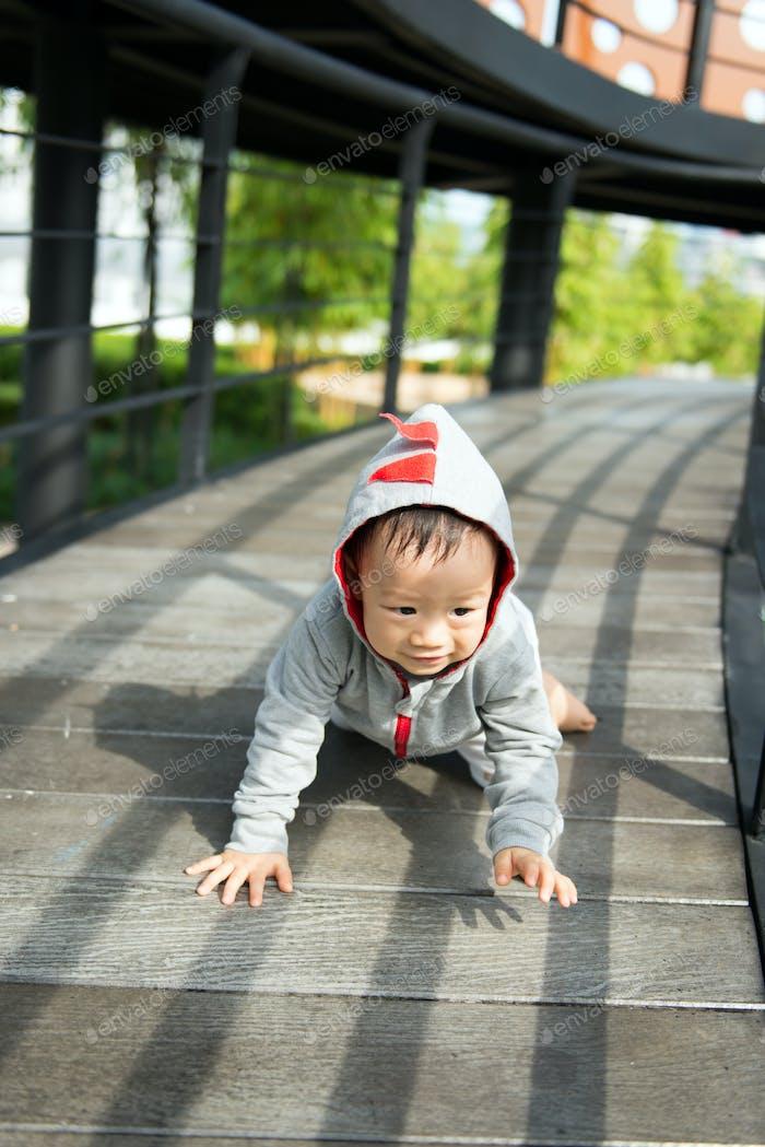 Portrait of little Asian baby boy