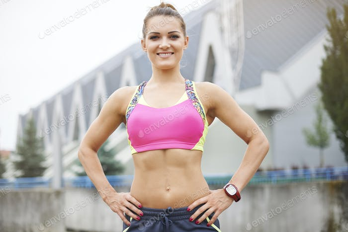 Athletic body of attractive young woman