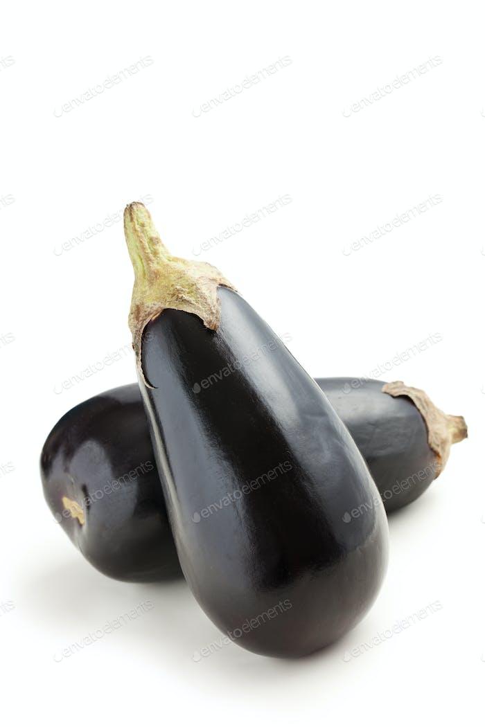 two eggplants on white background