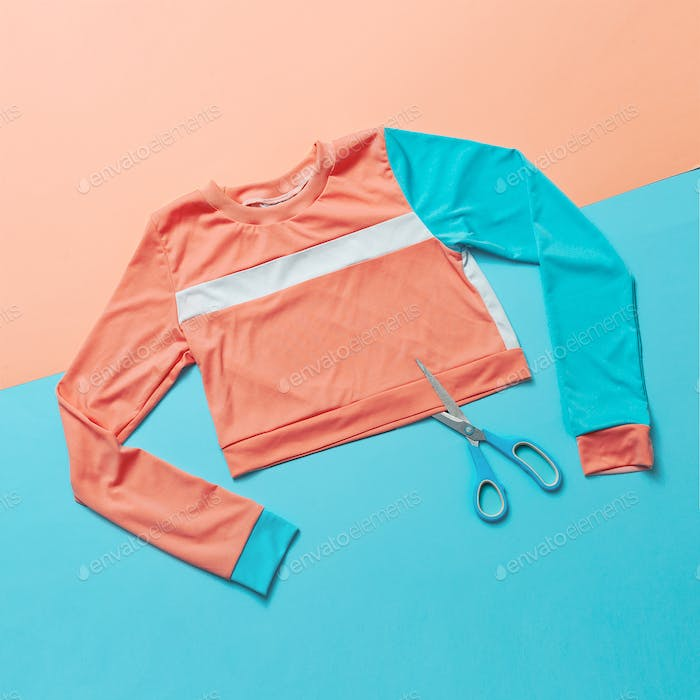 Stylish sports blouse and scissors. Creative. Minimal. Hipster s