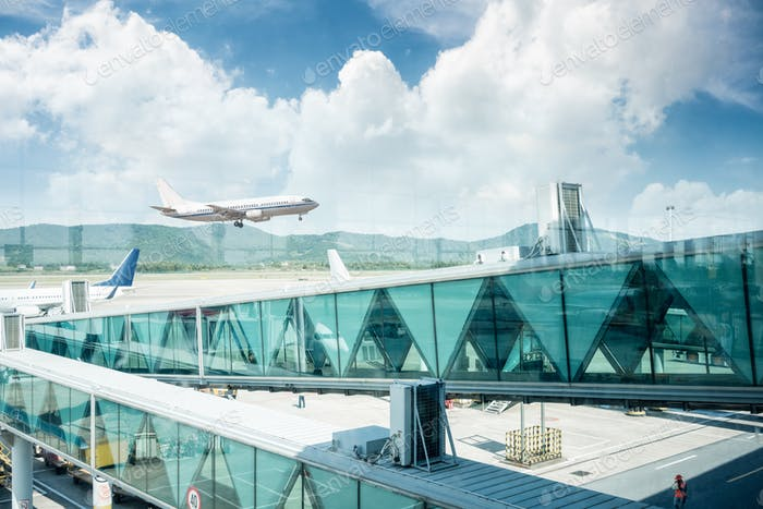 airport terminal window scene