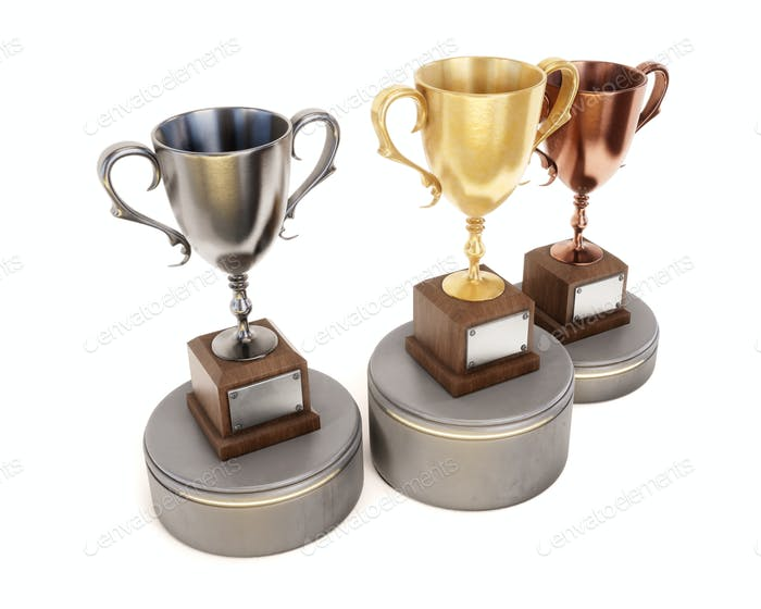Three Cup winners on the podium isolated on white background. 3d
