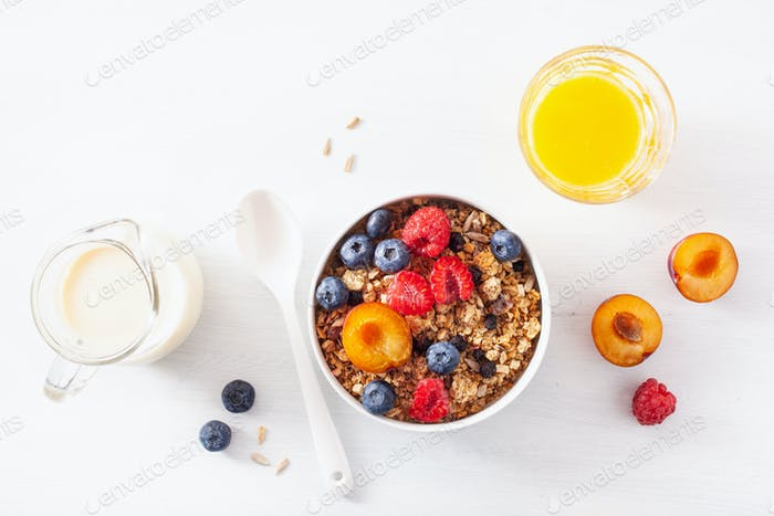 healthy granola for breakfast with berry fruit nut, vegan milk