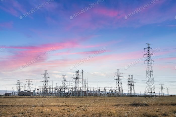electric substation with sunset glow