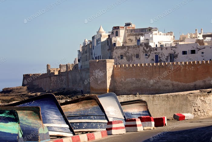 Boats in Essouira harbour