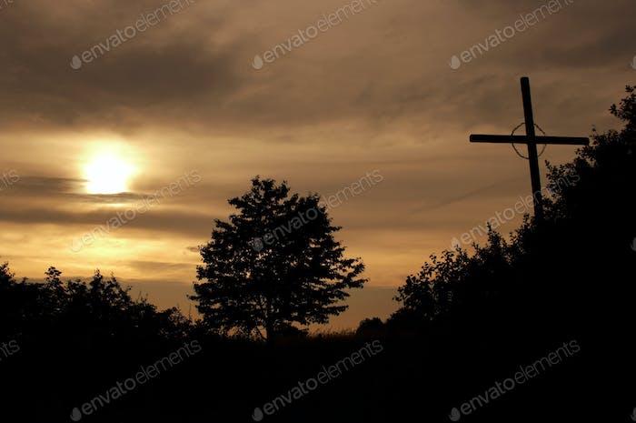 Wayside cross in the dusk