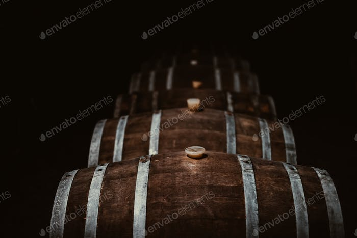 Vintage old oak barrels of wine, cognac in the wine dark vaults of the winery