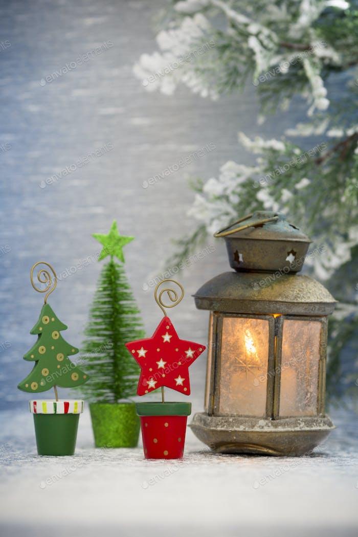 Weihnachtsdekoration mit Laterne Weihnachts-Grußkarte