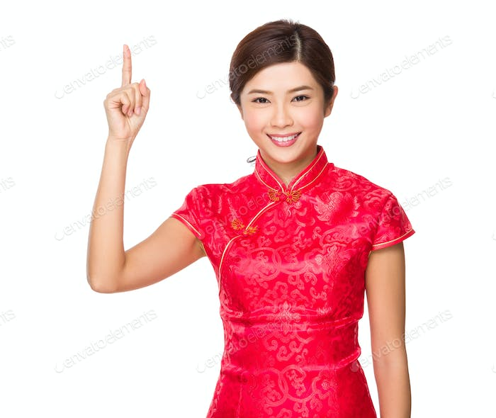 Chinese woman with finger show up