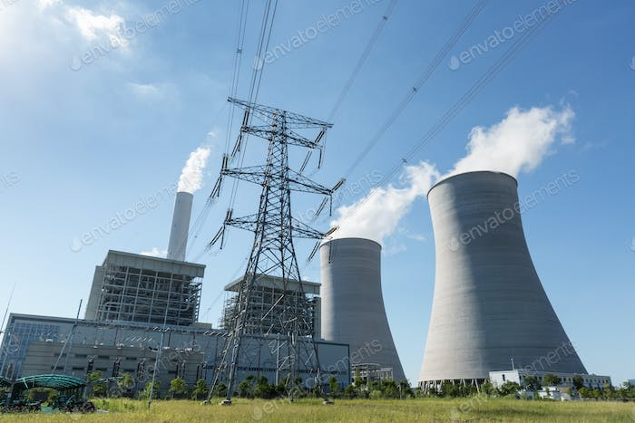 thermal power plant and electricity pylon