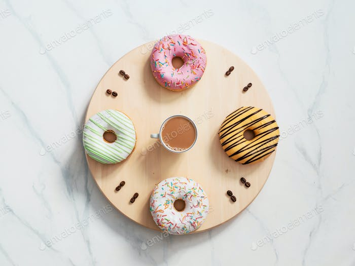 Coffee time and donuts time concept