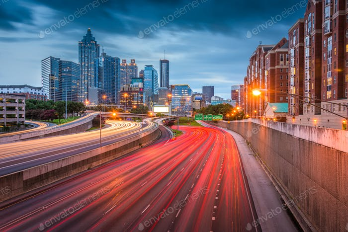 Atlanta, Georgia, USA downtown skyline over the highways at dusk