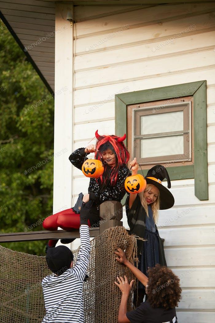 Kids Running Away on Halloween