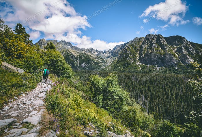 The tourists on the walking path. Tatra background