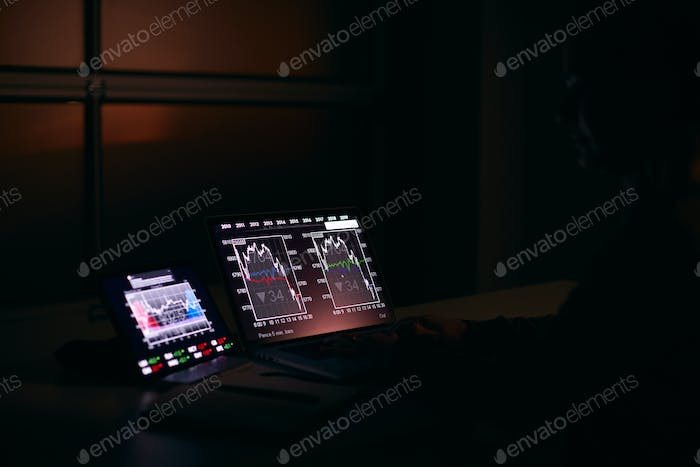 Female Share Trader At Desk With Stock Price Data Displayed On Laptop And Digital Tablet