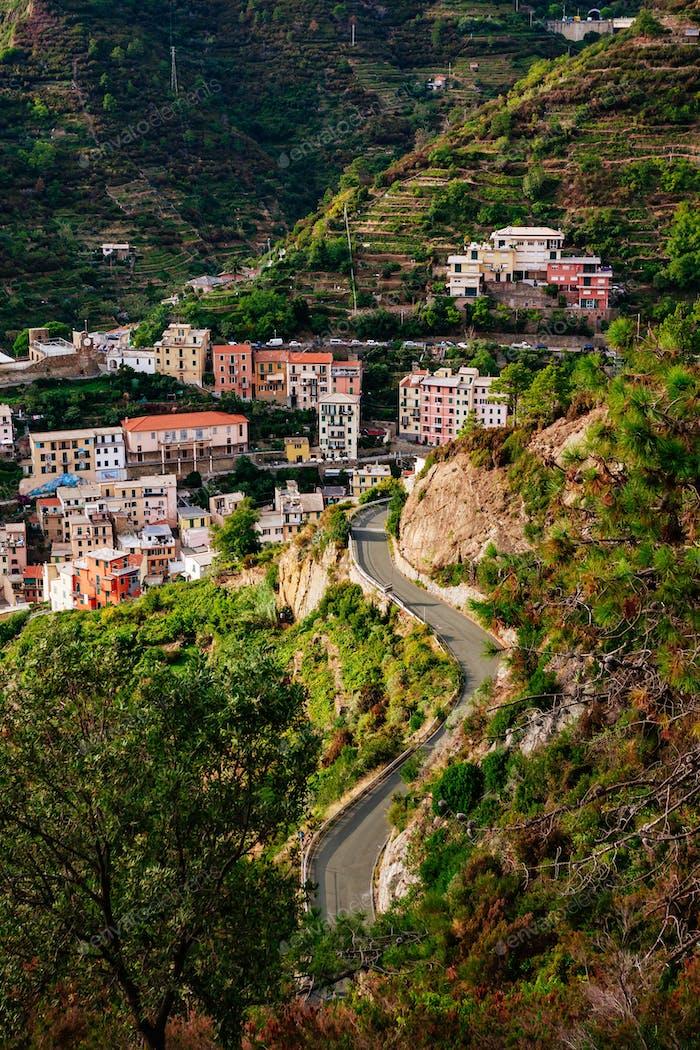 View of the city Manarola. Cinque Terre National Park, Liguria Italy.