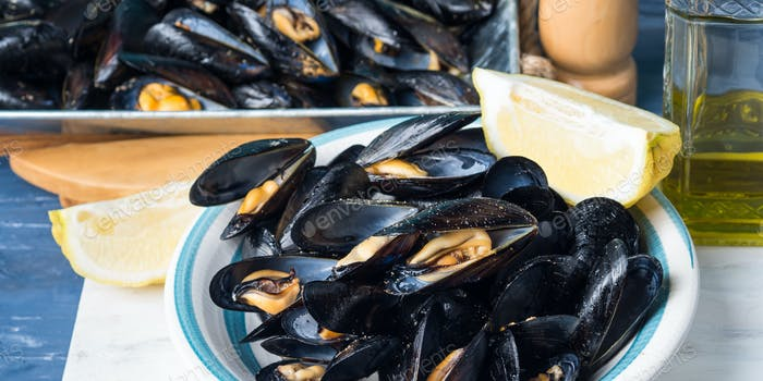 Sauteed mussels with black pepper and lemon