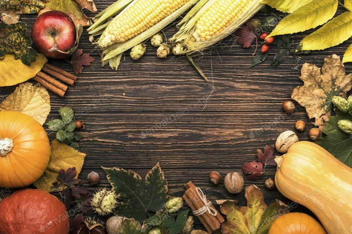 Autumn food top view, Thanksgiving or Halloween background: pumpkins, nuts, fallen leaves
