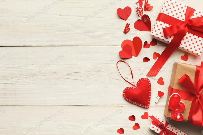 Valentine day background, handmade giftbox on wood, copy space