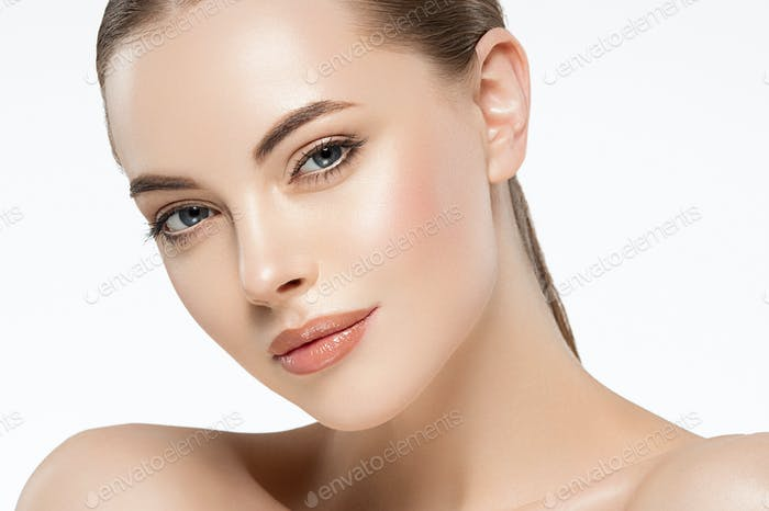 Beauty woman face clean healthy skin natural make