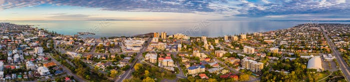 Aerial view of Suttons Beach area and jetty, Redcliffe, Australi